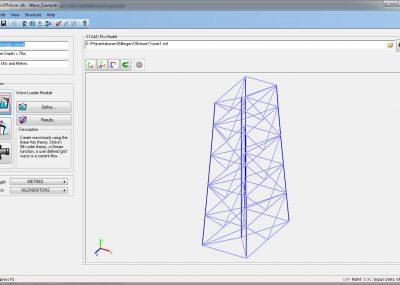STAAD.Offshore beinhaltet drei primäre Module: Wellenlastmodul, Transportlastmodul, Ermüdungsmodul.