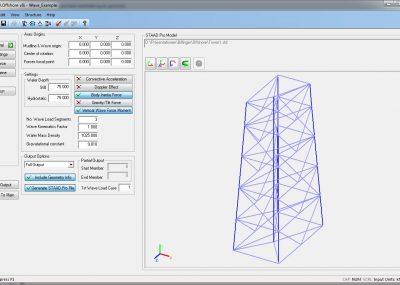 Mit dem Wellenlastmodul können Daten zum Generieren von Wellenlasten auf ein STAAD.Pro Modell generiert werden.
