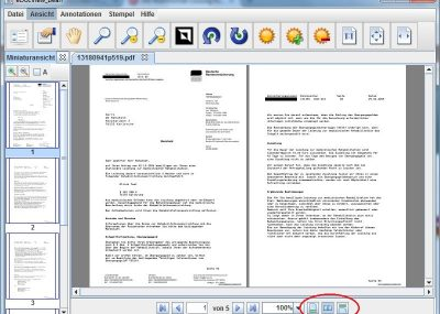 Documents can be displayed in different viewing modes such as One Page, Two Pages, or Continuous